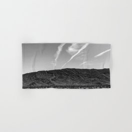 Desert Beauty   Remote Isolated Contrail Clouds Serene Calm Desolation Hand & Bath Towel