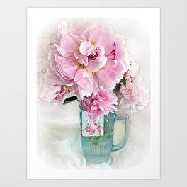 Romantic Shabby Chic Cottage Pink Peonies In Aqua Vase Art Print