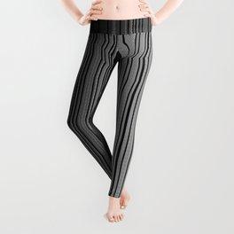 Sleek Gray Toned Stripes and Silvery Moon Leggings
