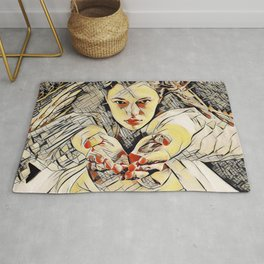 4448s-AB The Succubus Dreams of You Erotic Art in the style of Kandinsky Rug