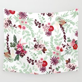 Abstract red pastel green pink country floral pattern Wall Tapestry