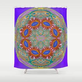 Indigo Glow Crown Chakra Mandala Shower Curtain