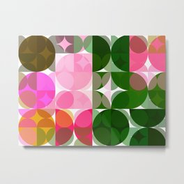Pink Roses in Anzures 1 Abstract Circles 3 Metal Print
