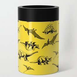 Dinosaurs on yellow background Can Cooler