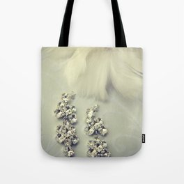 Diamnond / Crystal Earrings and feather flower Tote Bag