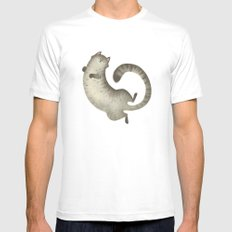 Happy Kitty MEDIUM Mens Fitted Tee White