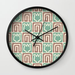 Mid Century Flower Garden Pattern 381 Green Brown Wall Clock