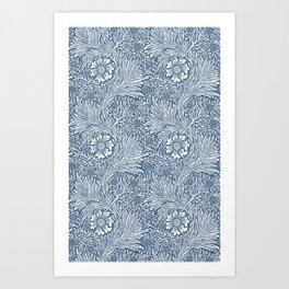 William Morris Navy Blue Botanical Pattern 3 Art Print