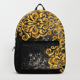 Floral golden and silver ornament Backpack