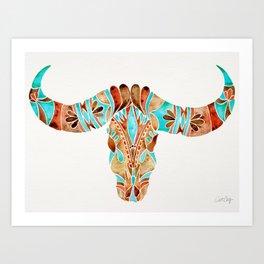 Water Buffalo Skull – Blue & Brown Art Print