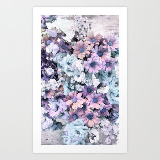 Pastel vintage floral Art Print