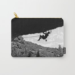 Rock Climber in Steep Cave Black and White Carry-All Pouch