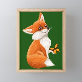 Cute fox playing with a butterfly Framed Mini Art Print