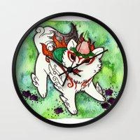 okami Wall Clocks featuring Amaterasu from Okami 01 by Jazmine Phillips