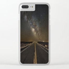 Go Beyond - Road Leads Into Milky Way Galaxy Clear iPhone Case