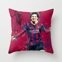 messi Throw Pillows featuring Lionel Messi by Simeon Elson