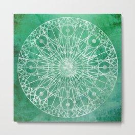 Rosette Window - Seafoam Metal Print