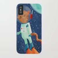 space cat iPhone & iPod Cases featuring Space Cat by Stephanie Fizer Coleman