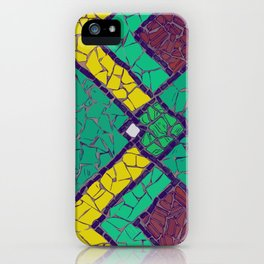 Green, yellow and brown mosaic figure #Terrazzo #Blobs iPhone Case