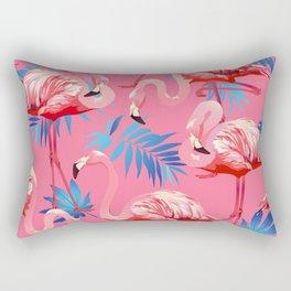 Flamingo Bird Tropical Palm Pattern Rectangular Pillow