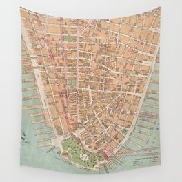 Vintage Map of Lower Manhattan (1921) Wall Tapestry