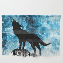 Howling Winter Wolf snowy blue smoke Wall Hanging