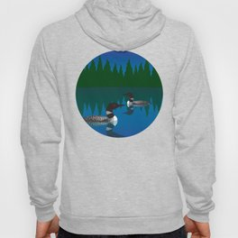 Loons in a Woodland Lake Hoody