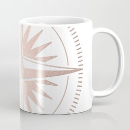 Rose Gold on White Compass Coffee Mug