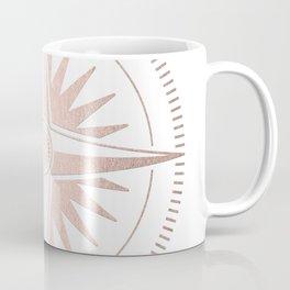 Rose Gold on White Compass Coffee Mug