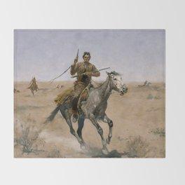 "Frederic Remington Western Art ""The Flight"" Throw Blanket"