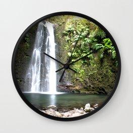 lime green waterfall Wall Clock