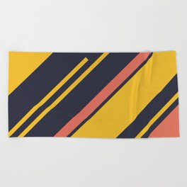 Retro Stripes in Blue Coral Yellow Beach Towel