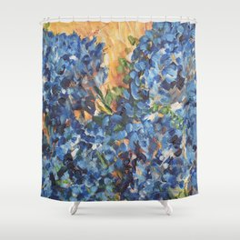 Blue Hydrangea Flowers 2, Blue Abstract, Modern Impressionism Painting Shower Curtain