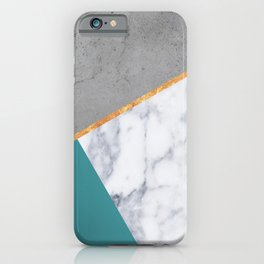 MARBLE TEAL GOLD GRAY GEOMETRIC iPhone Case