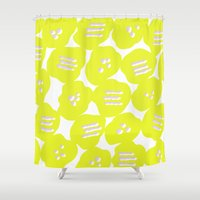 yellow pattern Shower Curtains featuring Yellow by MarikoSG