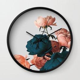Blush & Blue Flowers Canvas Print Wall Clock