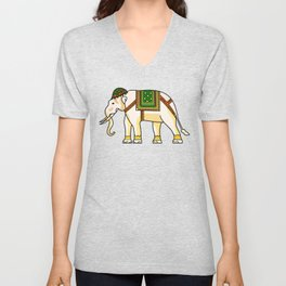 Watercolour Tribal Elephant Clothing Artwork Unisex V-Neck