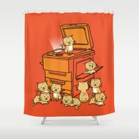 orange Shower Curtains featuring The Original Copycat by Picomodi