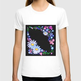 Abstract flowers frame T-shirt