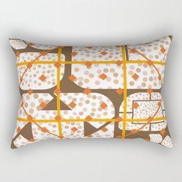 Expressive Windows of Brown and Rust Multiple Shapes Rectangular Pillow