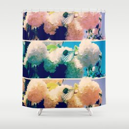 Washed Out Snowball Branch Collage (IV) Shower Curtain