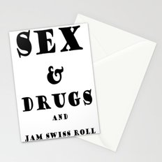 Sex and Drugs and Jam Swiss Roll Stationery Cards