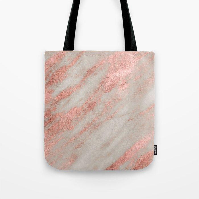 Marble Rose Gold White Marble Foil Shimmer Tote Bag
