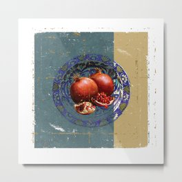 The Fine Art of Pomegranate in the Antique Plate! Metal Print