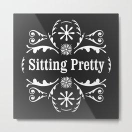 Sitting Pretty, Floral (Dark Charcoal) Metal Print