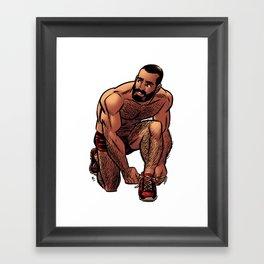 Shirtless Jogger Framed Art Print
