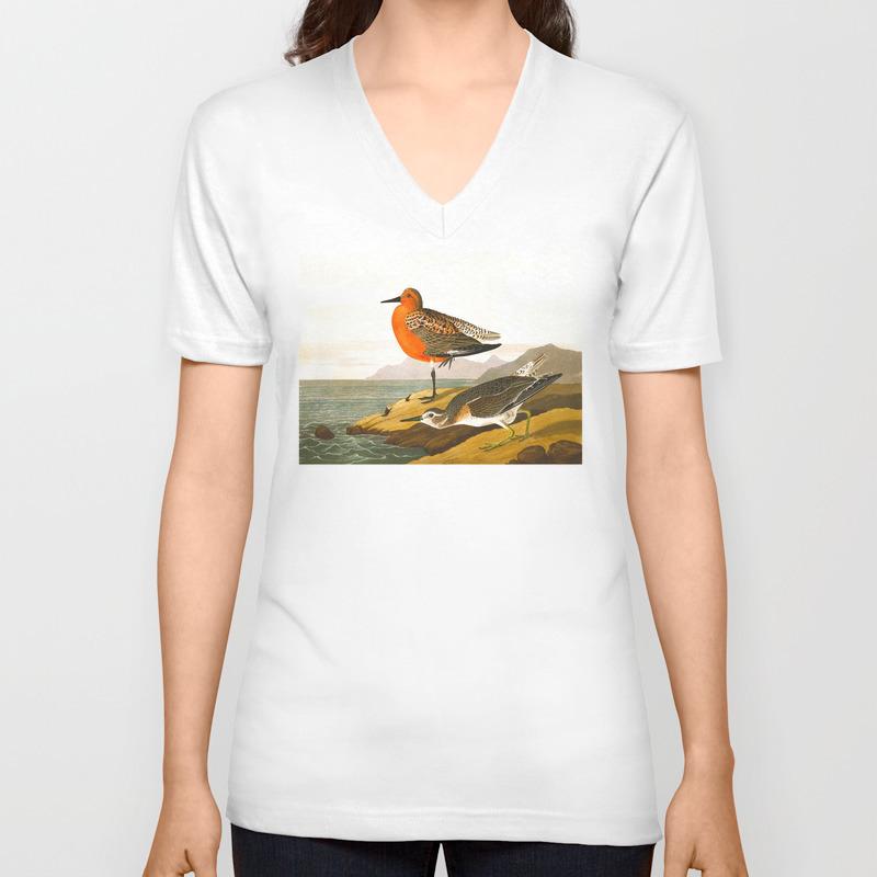 Red-Breasted Sandpiper Bird Unisex V-Neck T-shirt by enshape (VNT6426465) photo