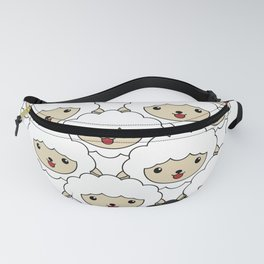 Black Sheep Pattern - Cute Animal Illustration Fanny Pack