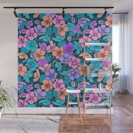 Modern abstract teal coral pink navy blue floral Wall Mural