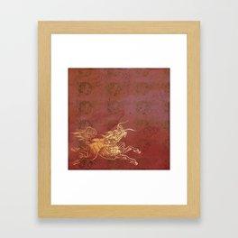 Caravans II:  Asian Print Happy Beast pink and gold Framed Art Print